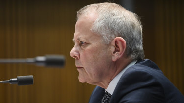 NAB's Phil Chronican appears before the parliamentary committee on Wednesday.