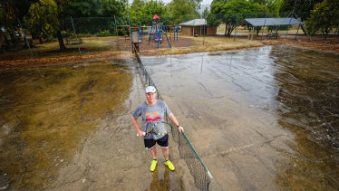 John Carr, pictured at the Beechworth's only tennis court that is available to players.