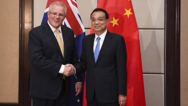 Australian Prime Minister Scott Morrison with the Premier of the People's Republic of China Li Keqiang during a bilateral meeting ahead of the ASEAN East Asia Summit in Bangkok.