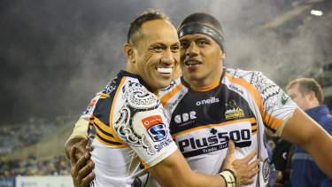 Grinners: The Brumbies, who beat the Reds on Saturday, will host the Sharks in the play-offs next week.