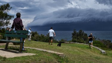 The storm moves off the coast of Mona Vale, about 1.30pm on Saturday.