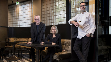 Rodney Setter (left) is suing Vicki Wild and Martin Benn. The three of them together at Sepia in December 2018.