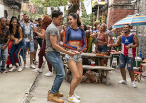 Anthony Ramos as Usnavi and Melissa Barrera as Vanessa in In The Heights.