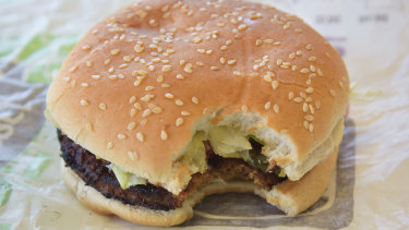Hungry Jack's plant-based Rebel Whopper. It doesn't taste like beef, but that's OK.