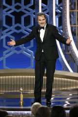 Joaquin Phoenix accepting the award for best actor in a motion picture drama for his role in Joker.