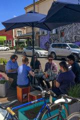 A parklet at Small Block Café on Piera Street, Brunswick