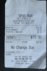 Receipt for lunch at the Spudbar.