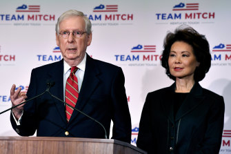 Transportation Secretary Elaine Chao, with her husband, Republican Senator Mitch McConnell, last November. She has just resigned from Cabinet over the Capitol riots.