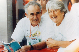 Ron Carter shares a laugh with Dawn Fraser at the 1992 national swimming trials in Canberra.