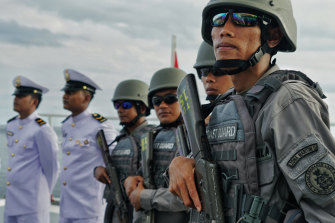 Indonesia maritime security forces in the seas off the Natuna Islands.
