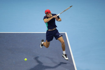 Alex de Minaur on his way to victory against Casper Ruud at the Next Gen finals in Milan.