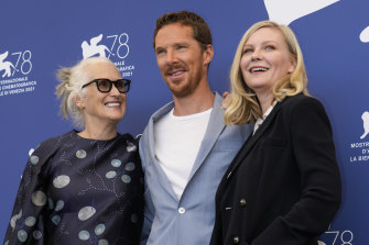 Jane Campion, Benedict Cumberbatch and Kirsten Dunst in Venice at The Power Of The Dog premiere.