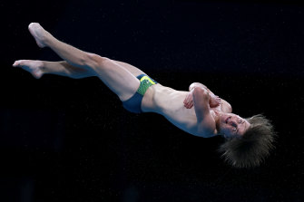 Australia's Cassiel Rousseau is through to the semis of the 10-metre platform diving competition.