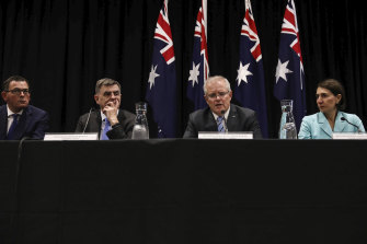 Victorian Premier Daniel Andrews, national Chief Medical Officer Brendan Murphy, Prime Minister Scott Morrison and NSW Premier Gladys Berejiklian at a COAG press conference.