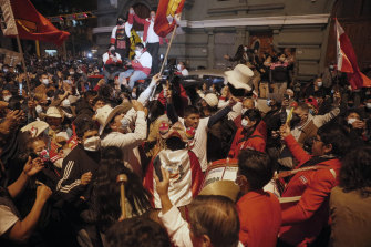 Supporters of Pedro Castillo celebrate after he was declared president-elect of Peru.