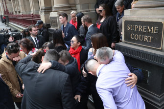 Alicia Little's family outside court on Tuesday.