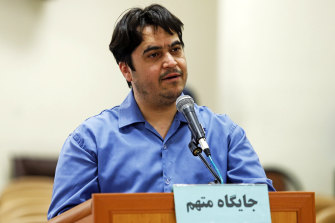 Journalist Ruhollah Zam speaks during his June 2020 trial at the Revolutionary Court, in Tehran