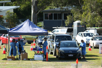 The testing site at Indooroopilly State High School was busy over the weekend.