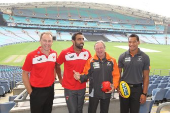John Longmire, Adam Goodes, Kevin Sheedy and Israel Folau at ANZ Stadium in 2012.