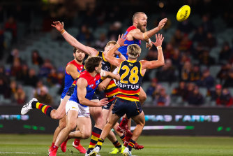 Max Gawn in the thick of it against Adelaide.