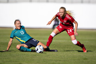 Tameka Yallop was responsible for the first of Australia's two first-half own goals in Horsens.