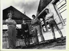 Some students of Parramatta High Standing in the remains of Parramatta High School after it was burnt when vandals set fire to it. From left to right: Graeme Berry, 18, Sigrid Kirk, 18, Mark Dirks, 17 and Danny Byrnes 17. August 16, 1982.