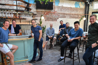 Matt Mullins, Andy Mullins and  business partners Doug Maskiell and Tom Birch join Matt Skinner, Kevin Peters, Sarah Chan and Ash Hicks ahead of the reopening of The Espy in November 2018.