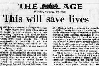 An <i>Age</i> editorial on the world-first introduction of legislation mandating the wearing of seatbelts.