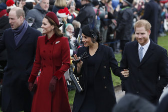 Prince William, Kate, Duchess of Cambridge, Meghan and Prince Harry, pictured together in December 2018.