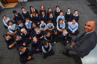 All the students of St Kevin's Primary School with their principal Nigel Rodrigues