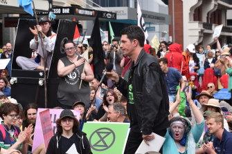 Former WA Greens senator Scott Ludlam addresses the Perth Extinction Rebellion crowd.
