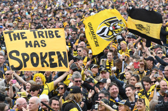 Tigers fans are seen at Punt Road Oval in Melbourne after winning the 2017 grand final.