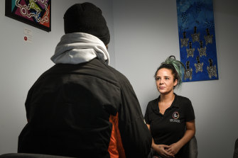 Aboriginal health practitioner Stevie-Lee Ryan with a client.