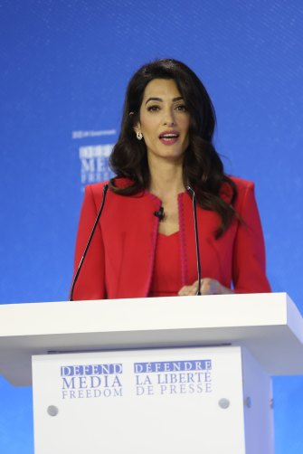 """Human rights lawyer Amal Clooney described a conviction for cyber libel of Ressa and Rappler researcher Rey Santos jnr as a """"blow to democracy in the Philippines""""."""