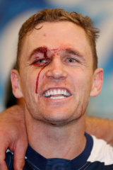 Captain Blood: Joel Selwood sings the song after victory over the Eagles.
