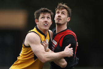 Michael Hartley (right) has rejected a one-year deal from Essendon and will look elsewhere.