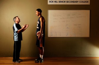 Australian basketballer Ben Simmons with Box Hill Senior Secondary College head coach Kevin Goorjian in 2014