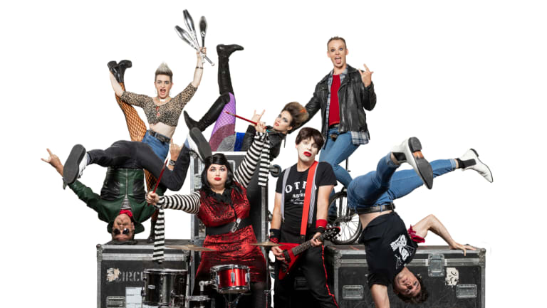 The performers in 'Rock Bang' with Circus Oz members led by Astrid and Otto.