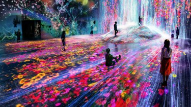 The 'Borderless' exhibition at the teamLab Digital Art Museum, Mori Building at Odaiba in Tokyo.