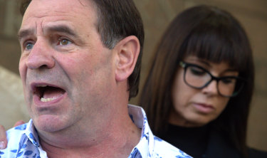 CFMMEU boss John Setka at Melbourne Magistrates Court with his wife Emma Walters.