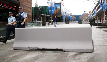 Concrete bollards installed in Martin Place, Sydney, 2017.