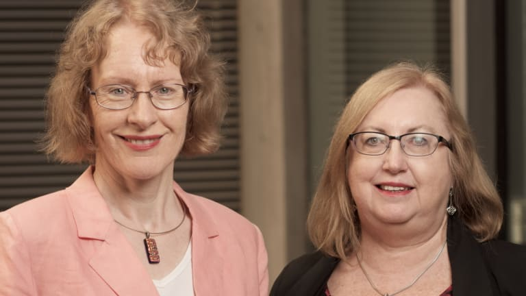 Susan McGrath-Champ, left, Associate Professor in Work and Organisational Studies at the University of Sydney, and Joan Lemaire, NSW Teachers Federation deputy president.