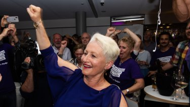 Kerryn Phelps celebrates her victory in Wentworth.