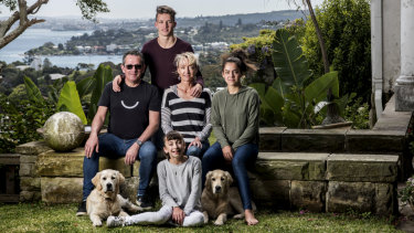 Nick Andrews with wife Juliet,  children James, Alice and Eliza (front) and dogs Banjo and Harley at home in Wentworth Road, Vaucluse.