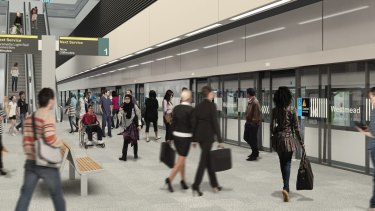 An artist's impression of an underground metro station planned for Westmead.