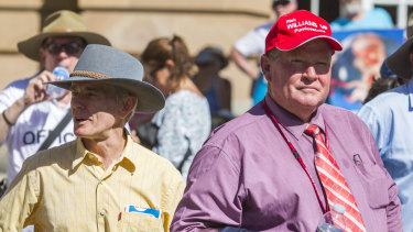 Rick Williams, pictured with with former One Nation senator Malcolm Roberts at an anti-abortion rally earlier this year.