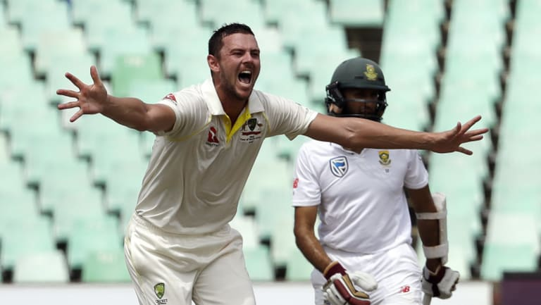 Josh Hazlewood took the final South African wicket to wrap up victory in the first Test.