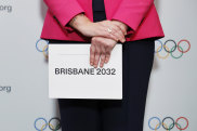 Queensland Premier Annastacia Palaszczuk holds the queue card after Brisbane was announced as the 2032 Summer Olympics host city.