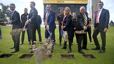 Politicians including Mark McGowan and WACA officials turn the sod for the historic cricket ground's redevelopment.