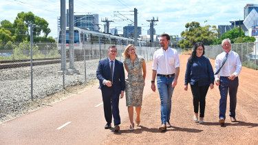 Tjorn Sibma, Libby Mettam, Opposition Leader Zak Kirkup, Liberal candidate for PerthKylee Veskovich and Bill Marmion at City West Station.